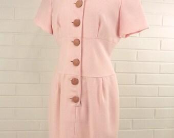 Vintage 70's/80's Sheath Dress, Pink Houndstooth, Notch Neckline, Size 8