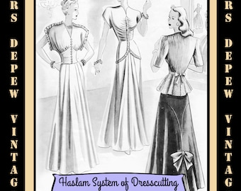 Haslam Dresscutting Book Autumn & Winter No. 24 1940's Vintage Sewing Pattern E-book with 37 Pattern Draftings