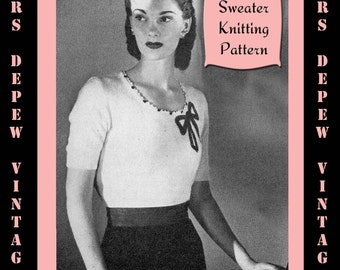 Vintage 1940's Ladies' Blouse Knitting Pattern Reproduction #4452 - INSTANT DOWNLOAD