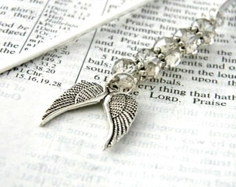 Wing Bookmark with Smoky Quartz Beads Shepherd Hook Silver Plated Steel Bookmark