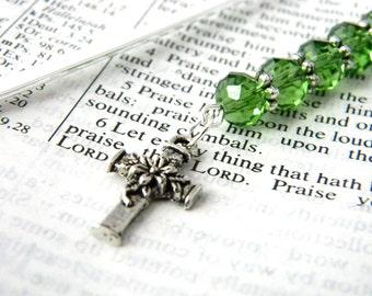 Flower Cross Bookmark with Green Glass Beads Shepherd Hook Steel Bookmark Silver Color