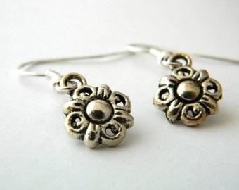 Flower Earrings Silver Color Dangle Earrings