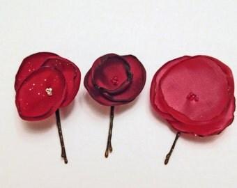 Crimson Flower Hair Pin Set - Satin Hand Crafted Flowers - Set of Three - Red, Deep Red, Dark Salmon