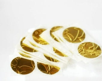 Round 1.0in Stickers Gold Embossed Seals for Wedding or Engagement Invitations or Envelope Seals