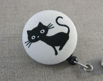 Retractable Badge Holder - Cute Badge Reel - Teacher Gift - SITTING BLACK CAT