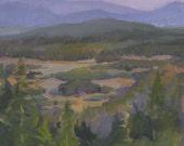 "Fine Art painting Oregon landscape ""Valley Sunset"" original oil 11x14"""