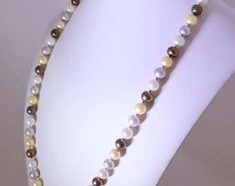 "Multi-Color Pearl Necklace Genuine Pearl Necklace Statement Neckace June Birthstone Necklace 29"" Peach Real Pearl Necklace N-110-29"