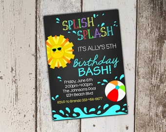 Summer Pool Party Invitation - print yourself JPG