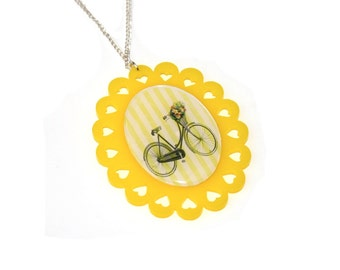 Bicycle Necklace, Bike Illustration Necklace OOAK, Statement Necklace