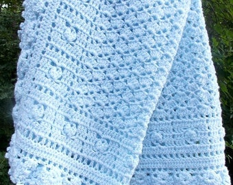 Heirloom Blue Baby Blanket Crochet Baby Afghan Car Seat Cover READY TO SHIP Baby Boy Blanket Baby Gift Baby Shower Nursery Newborn Gift