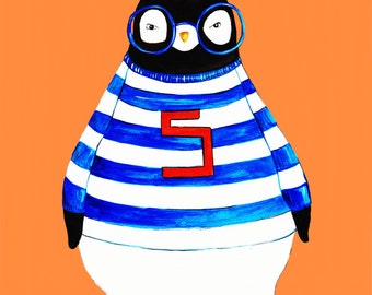 Hipster Penguin With Jock Shirt Print