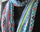 Infinity scarf colorful handmade  cotton jersey