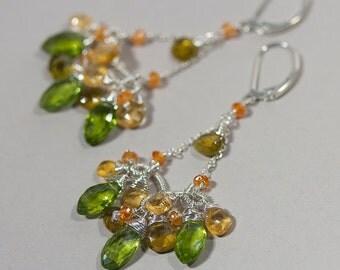 Peridot Citrine Chandelier Earrings - Wire Wrapped Boho Gemstone Chandelier Earrings