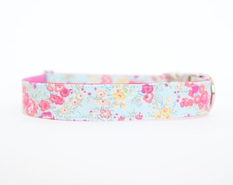 Liberty of London Dog Collar - Faded Turquoise Floral