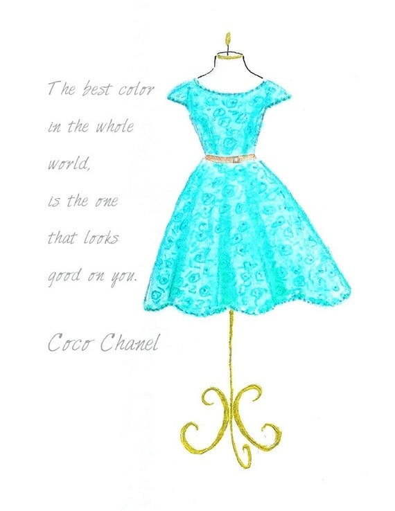 Watercolor teal dress fashion illustration turquoise girls