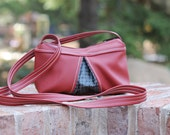 Cross Body Bag - Small Purse - Red Vinyl with Charcoal -