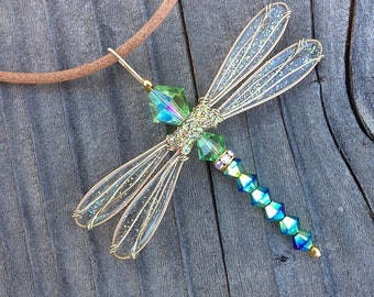 Dragonfly Necklace - Birthstones & 28 More Swarovski Colors - Dazzlefly on Leather Cord