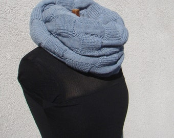 Cowl Scarf Infinity Loop Scarf Merino Snood Light Blue Oversized Chunky Cowl