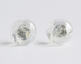 Delicate shattered glass marble stud earrings in ice