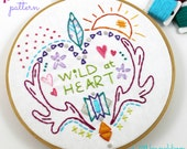 Woodland Hippy Heart Hand Embroidery PDF Pattern Wild at Heart Antlers Western Feathers