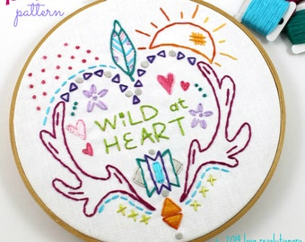 Wild at Heart. Hand Embroidery Pattern. PDF Pattern. Digital Pattern. Embroidery Designs. Western. Heart. Antlers. Feathers. Boho. Hippy.