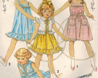 1980s Simplicity 5466 Vintage Sewing Pattern Girls Pullover Sundress and Jacket Size 5
