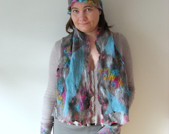 SALE Three Pieces Set of Felted Hat, a Pair of Silk Fingerless and a Scarf