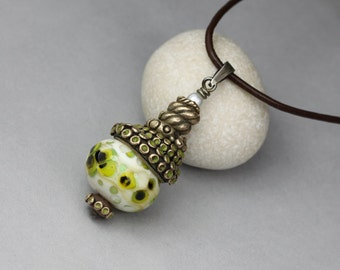 Sea monster - funky pendant - bronze, silver, lampwork and pearl ONE OF A KIND