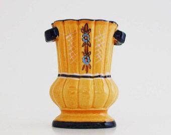Vintage Orange and Blue Floral Vase