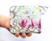 Linen blend coin purse Eco friendly unique zippered pouch- Wallet- small Make up bag-Bridesmaid gift - Exclusive blush pink  magnolia Art Ph