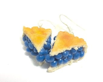 Blueberry Pie Earrings, Miniature Food Jewelry, Polymer Clay Food Jewelry
