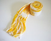 Short Knit Scarf / Child Scarf / Yellow & White Scarf / Cotton Scarf / Scarf for Kids / Summer Scarf