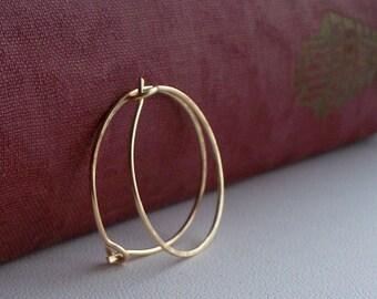 Gold Jewelry - 14 Karat GF Hoops Medium size - Gold Fill Wire Handmade Hoop Earrings