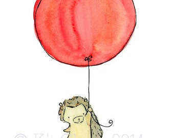 Nursery Art -- My Balloon Hegdehog -- Nursery Art Print