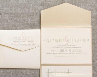 Gold and Blush Pink Modern Pocket Wedding Invitation | Renata & Scott