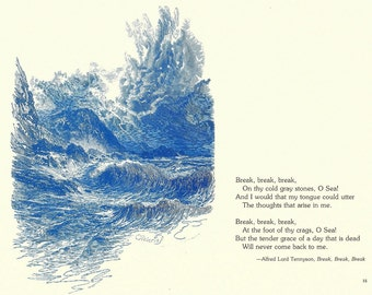 Nautical Print - Sea Waves Engraving - Vintage Sea Waves Print - Blue Sea Waves Book Print - Go Down To The Sea - Tennyson - 1970s