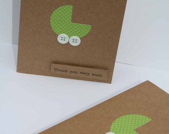 Baby Shower Thank You Cards - Baby Thank You Cards - Kraft Thank You Cards - Thank you Cards - Green Thank You Cards - 50
