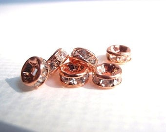 12 (6mm) Crystal Rhinestone Straight Rondelle Spacer Beads, Rose Gold Color, Jewelry making Bead Supply, Brass, Grade AAA, Lead, Nickel Free