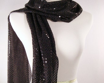 Holiday - Black Party Scarf -  Scarf - Black Sequin Scarf - Shiny Black Sequin Scarf - Dressy Long Scarf - Black Sequin Wrap