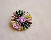 Plum Citrine Painterly Floral Rosette Medallion Pin, handmade jewelry, wedding corsage, boutonniere, gift topper, embellishment – MEDIUM