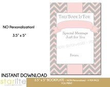 Printable Baby Shower Bookplate   Baby Girl Shower Book Plate   Chevron Pink Gray book request Book Plate   4 per Page   Instant Download