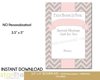 Printable Baby Shower Bookplate | Baby Girl Shower Book Plate | Chevron Pink Gray book request Book Plate | 4 per Page | Instant Download