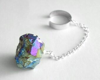 Rainbow Titanium Druzy Ear Cuff, Cartilage Cuff, Silver Chain Jewelry