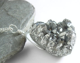 Silver Crystal Necklace, Titanium Druzy Pendant, Raw Stone Jewelry, Rough Crystal Geode