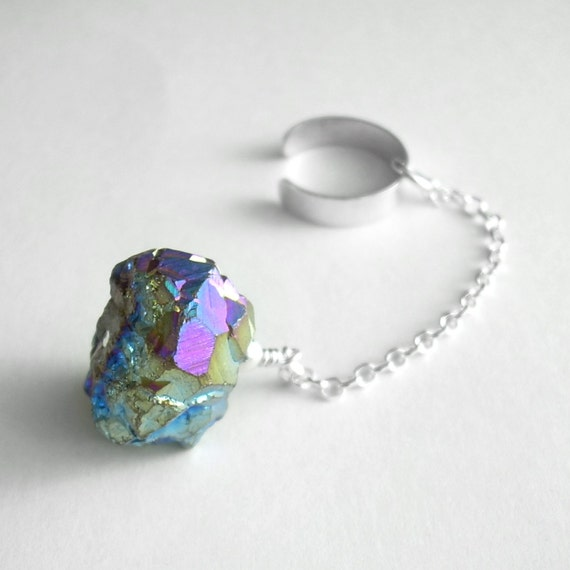 Rainbow Titanium Druzy Ear Cuff, Cartilage Cuff, Silver Chain Jewelry