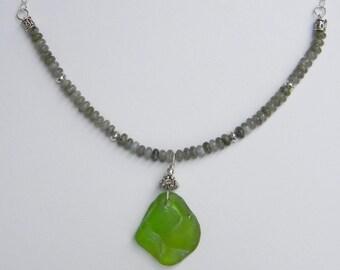 Unique Green Sea Glass and Labradorite Necklace