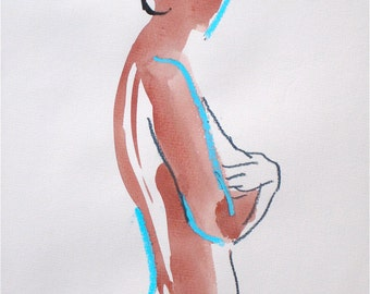 Nude painting- #890b version 2- original watercolor painting by Gretchen Kelly