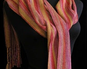 Handwoven Scarf Hand Dyed Rayon Tencel Scarf  FREE SHIPPING in USA - Amber Sunset