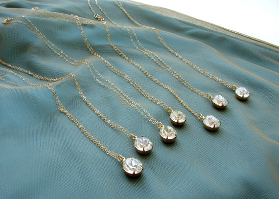 Bridesmaid jewelry, bridesmaid necklace, Vintage rhinestone necklace, 7 Wedding party gifts, oval rhinestone pendant