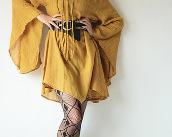 Lost in time...linen/cotton ...Mustard yellow..... long sleeve / maternity / urban / Japanese / Boho...
